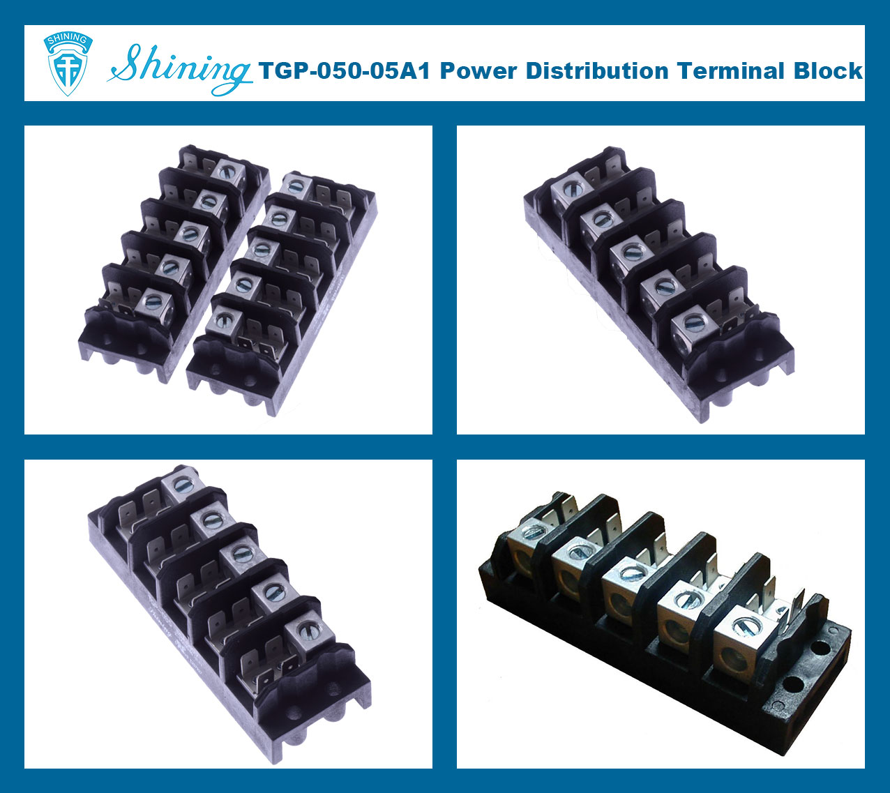 TGP-050-05A1 600V 50A 5 Pole Power Terminal Block